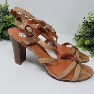 Via Spiga Orange and Tan Block Heels Size 8.5